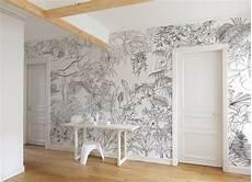 papier peint jungle tropical noir et blanc big panoramique