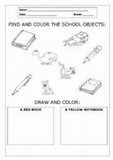 colors and school objects worksheets 12788 find and color the school objects esl worksheet by ericadomeniche