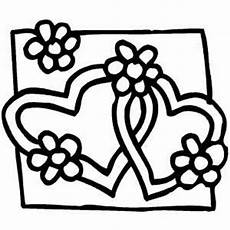 hearts and flowers in frame coloring page