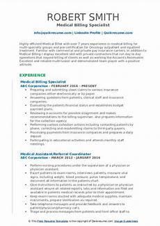 medical billing specialist resume sles qwikresume
