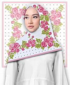 Jilbab Segi Empat Motif Motif Bunga Printout Shop