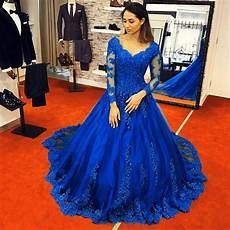 vintage royal blue wedding dresses lace long sleeves ball gowns 2018 alinanova