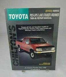 free car repair manuals 1989 toyota truck xtracab sr5 parking system chilton toyota pick ups land cruiser and 4 runner 1989 96 repair manual ebay