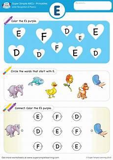 letter recognition phonics worksheet e uppercase super simple