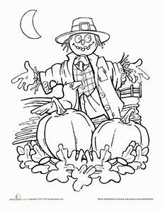 autumn scarecrow coloring page fall coloring pages