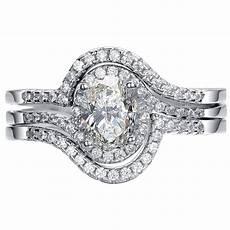 925 sterling silver 3 piece oval cut halo wedding