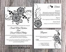 diy lace wedding invitation template set editable word file download printable rustic wedding