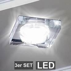 3er Set Led Design Einbau Strahler Glas Decken Leuchten