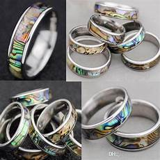 Bakeey Metal Shell Retro Four Rings by Shellfish Abalone Shell Inlay 316l Stainless Steel