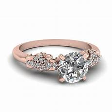 rose gold round white diamond engagement wedding ring in