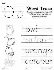 letter o tracing worksheets preschool 23921 letter o words free alphabet tracing worksheet supplyme