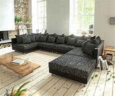 sofa mit hocker couch clovis xl schwarz mit hocker wohnlandschaft