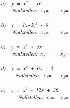 bestimme die nullstellen der funktionen durch rechnung y