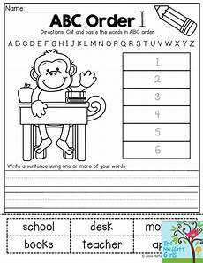 abc order worksheets 15559 abc order cut and paste the words in alphabetical order then write a sentence using the words