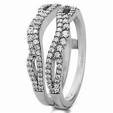 twobirch double infinity wedding ring guard enhancer in sterling silver with cubic zirconia 0