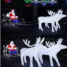 grand traineau pere noel lumineux deco exterieure outdoor 3d decoration led reindeer sleigh with