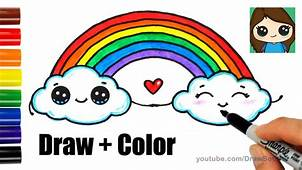 How To Draw A Rainbow And Clouds Easy With Coloring – Kids