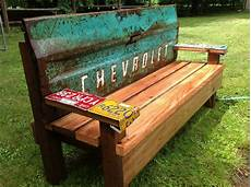 kathi s garden art rust n stuff team building garden bench with an old tailgate