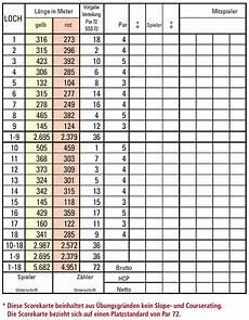 die scorekarte golf schule