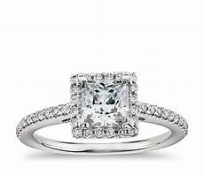 princess cut halo diamond engagement ring in 14k white