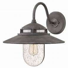 barn light seeded glass outdoor wall light zinc hinkley lighting 1114dz destination lighting