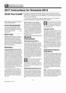 instructions for schedule 8812 child tax credit 2017