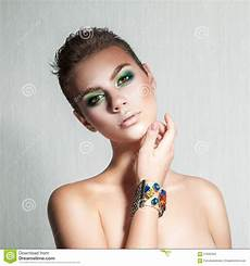 tender with beautiful makeup and hair stock
