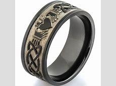 Men's Black Claddagh Celtic Ring   Titanium Buzz