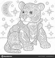 zentangle tiger baby cub malvorlagen stockvektor