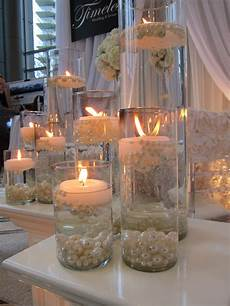 candles with pearls centerpieces candlelight focus wedding decorations wedding