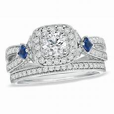 vera wang love collection 1 1 5 ct t w diamond and sapphire frame bridal in 14k white gold