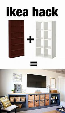 ikea hack expedit into long storage unit ideen zum