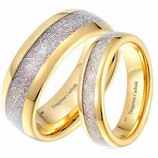 his and hers matching meteorite inlay gold wedding engagement band ring set ebay