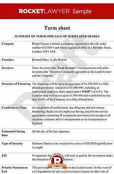 term sheet term sheet template term sheets