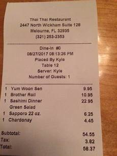 receipt picture of thai thai restaurant melbourne tripadvisor