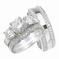 his and hers high quality cz wedding ring set matching sterling silver bands for him and her 8