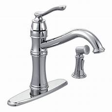 moen kitchen faucet with sprayer moen belfield single handle standard kitchen faucet with side sprayer in chrome 7245c the home