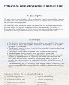 professional counseling informed consent form template jotform