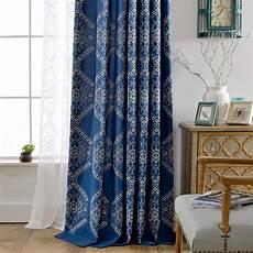 vorhang blau moderner vorhang mit geometrisches muster blau f 252 r