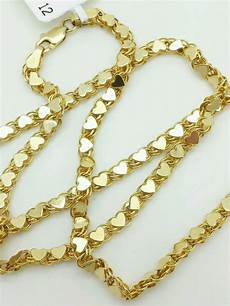 14k solid yellow gold link necklace pendant chain 18