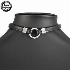 bijoux ras de cou femme collier femme ras du cou en cuir nappa noir et anneau