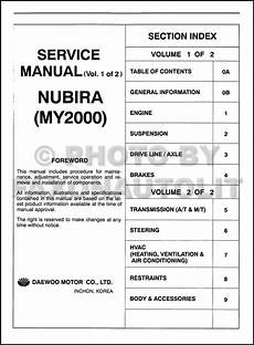 motor auto repair manual 2000 daewoo nubira user handbook 2000 daewoo nubira repair shop manual original 2 volume set