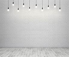 painted brick wall and wooden floor with glowing light bulbs stock illustration illustration