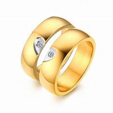 elegant heart design gold titanium steel gemstone promise ring for couples tinnivi jewelry