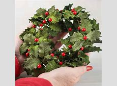 Velvet Artificial Holly Candle Ring   Candles and