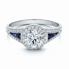 diamond halo and blue sapphire engagement ring 100391