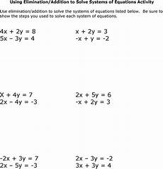 solving systems of equations by elimination worksheet answers with work db excel com