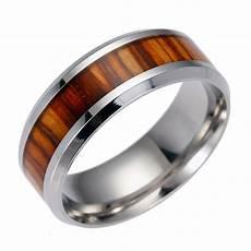new genuine koa inlay mens titanium steel wedding band ring uk c s