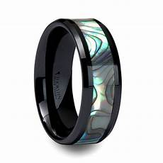 beveled men s wedding ring with shell inlay in black ceramic