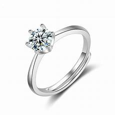 hexagon prong setting silver plated cz wedding rings for finger ring in engagement rings